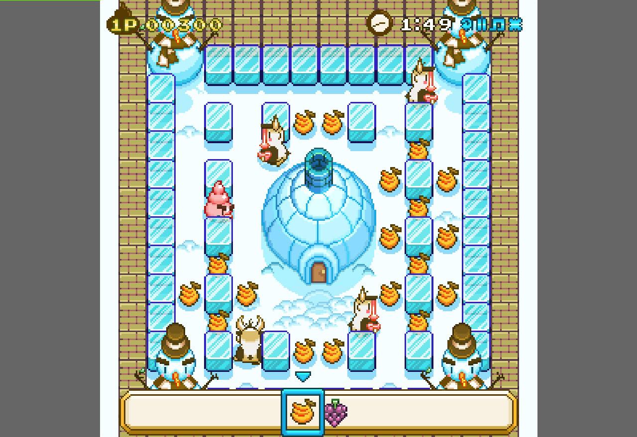 Каждый уровень представляет из себя некий лабиринт из льда, а вы должны помочь мороженому собрать все фрукты и не попасть в лапы врагам.